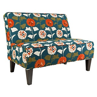 angelo:HOME Dover Orange and Turquoise Blue Meadow Flowers Armless Settee