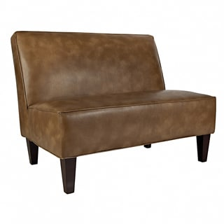 angelo:HOME Dover Milk Chocolate Brown Renu Leather Armless Settee
