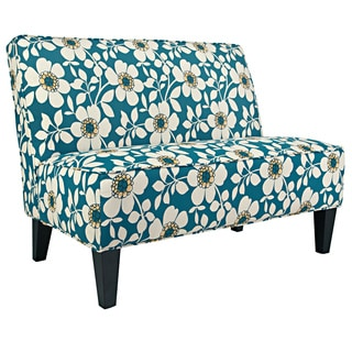 angelo:HOME Dover Juniper Dusk Blue Modern Flower Armless Settee