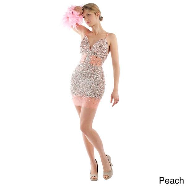 Daniella Couture Women's Rhinestone-encrusted Mini Dress