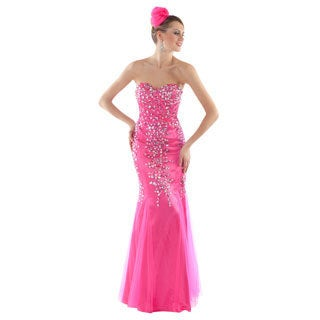Daniella Women's Bright Pink Rhinestone-embellished Strapless Gown
