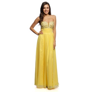 Daniella Couture Women's Yellow Rhinestone Bodice Gown