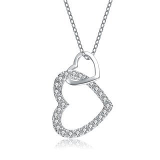 Collette Z Sterling Silver Cubic Zirconia Double Heart Necklace