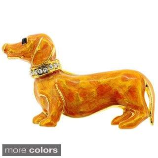 Golden Brown Dachshund Dog Pin Brooch