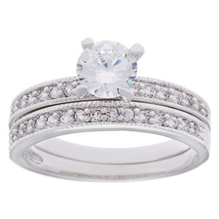 Simon Frank Silvertone Beveled Edge CZ Bridal Set