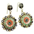Sweet Romance Enamel Starburst Design Dangle Earrings