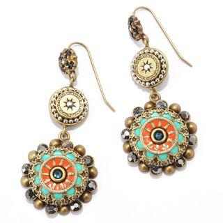 Sweet Romance Enamel Starburst Design Dangle Earrings