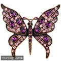 Amethyst Crystal Butterfly Pin Brooch
