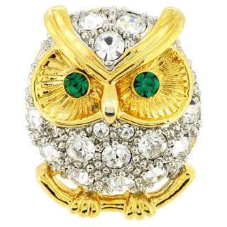 Crystal Owl Lapel Pin