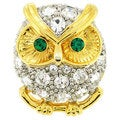 Crystal Owl Lapel Pin