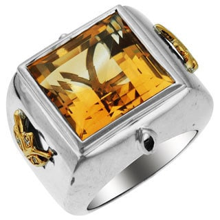 Sonia Bitton 14k Yellow Gold and Sterling Silver Citrine and Diamond Accent Ring