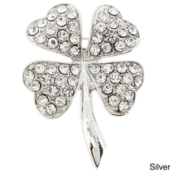 Silver Overlay Crystal 4 Leaf Clover Flower Pin Brooch