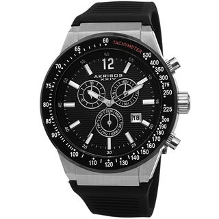 Akribos XIV Men's Swiss Quartz Chronograph Silver-Tone Strap Watch