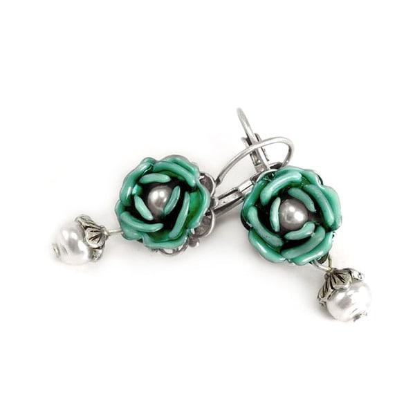 Sweet Romance Pewter Tea Roses Earrings