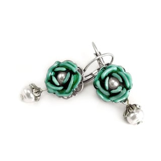 Sweet Romance Pewter Tea Roses Earrings