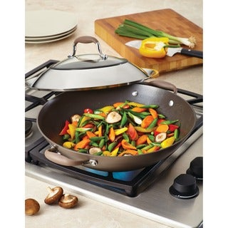 Anolon Advanced Bronze Hard-anodized Nonstick 14-inch Grey Covered Wok