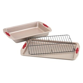 Paula Deen Signature Nonstick 3-piece Bakeware Set with Red Silicone Grips