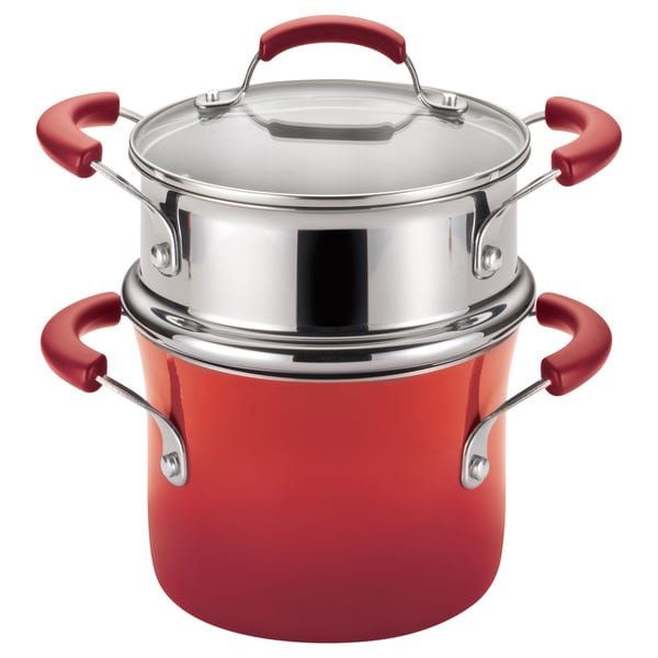Rachael Ray Hard Enamel Nonstick 3-quart Red Gradient Covered Steamer Set 12614502
