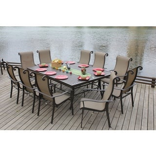Canberra 11 piece chocolate outdoor dining set overstock for Outdoor furniture canberra