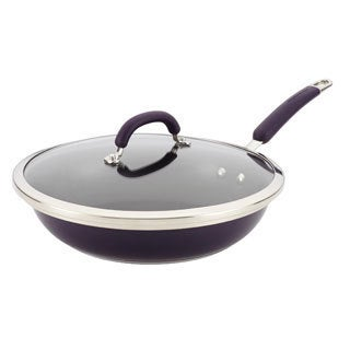 Rachael Ray Purple Stainless Steel Nonstick 12-inch Covered Deep Skillet