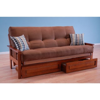 Christopher Knight Home Honey Oak Wood Frame with Suede Chocolate Innerspring Mattress and Drawers Futon Set