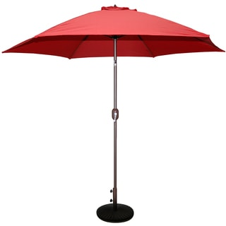 Tropishade 9 ft. Aluminum Bronze Patio Umbrella with Red Cover