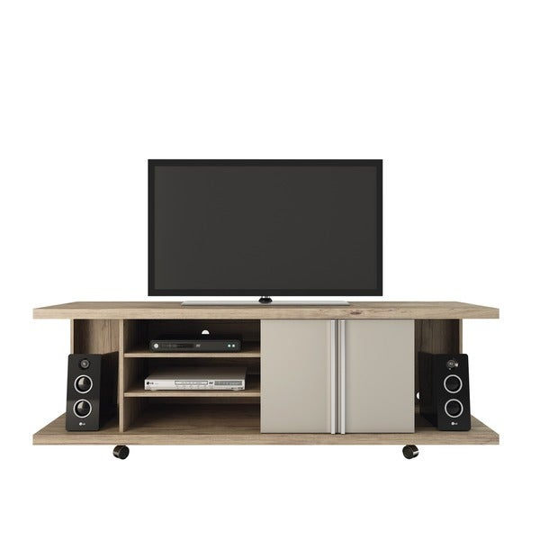 Manhattan Comfort Carnegie 5-shelf Nature and Nude 71-inch TV Stand 12614549