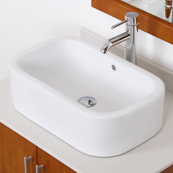 Elite White High-temperature Ceramic Bathroom Sink with Chrome Faucet