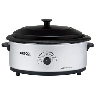 Nesco Silver 6-quart Roaster Oven with Porcelain Lid