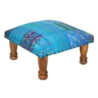 Handmade Blue Kantha Stitched Ikat Footstool (India)