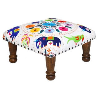 Hand-embroidered Multi-colored Floral Footstool (India)