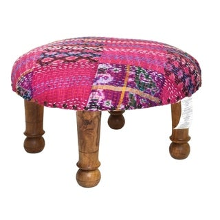 Handmade Purple Kantha Stitched Ikat Footstool (India)