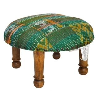Handmade Green Kantha Stitched Ikat Footstool (India)