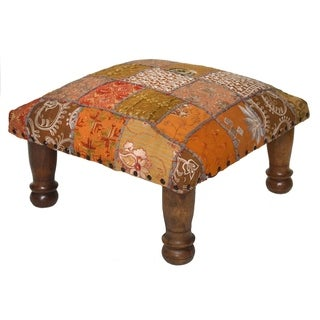 Handmade Gold Embroidered Vintage Fabric Patchwork Footstool (India)