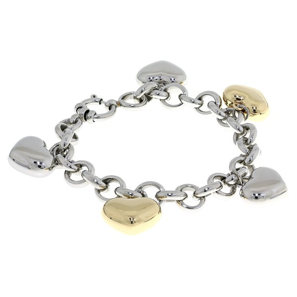 Two-tone Stainless Steel Heart Charm Bracelet
