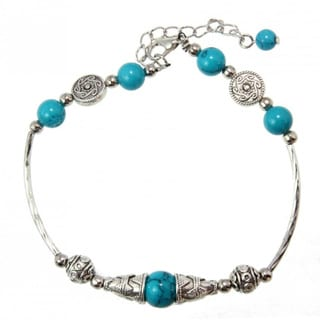 Miao Silver Created Turquoise Beaded Anklet (China)