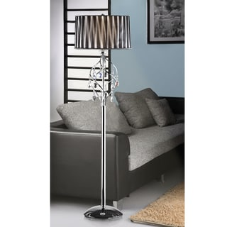 Acel 1-light Chrome Crystal Black Sheer Shade Floor Lamp