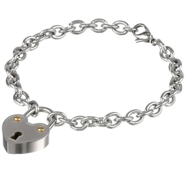 Stainless Steel Lock Charm Bracelet