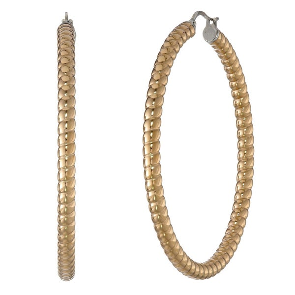 Goldtone Stainless Steel Hoop Earrings