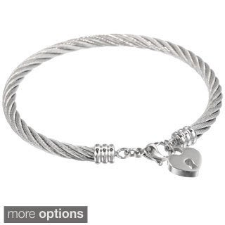 Stainless Steel Lock Heart Charm Bangle Bracelet