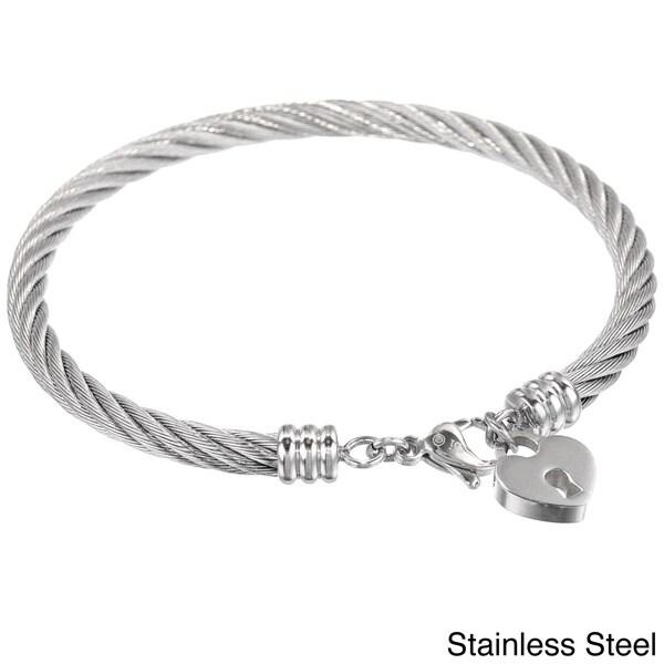 Stainless Steel Lock Heart Charm Bangle Bracelet