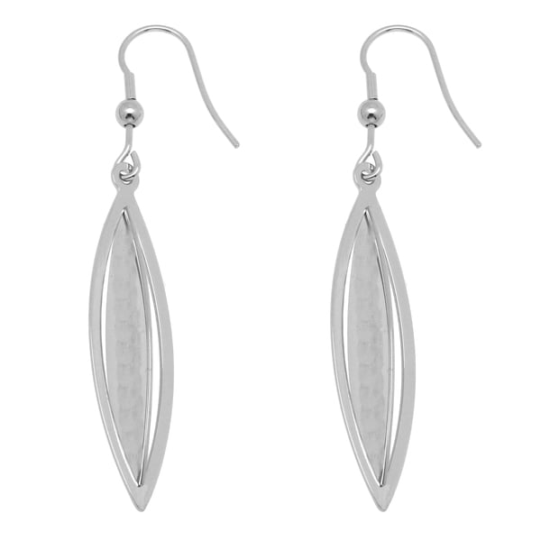 Stainless Steel Oval Dangle Hook Earrings 12615453