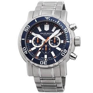 Akribos XXIV Men's Embossed Dial Multifunction Stainless Steel Bracelet Watch