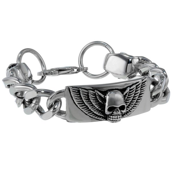 Stainless Steel Black Skull Bracelet