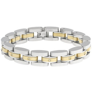 Two-tone Stainless Steel Diamond Accent Bracelet
