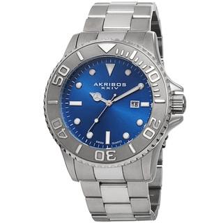 Akribos XXIV Men's Swiss Quartz Sunray Dial Stainless Steel Bracelet Watch