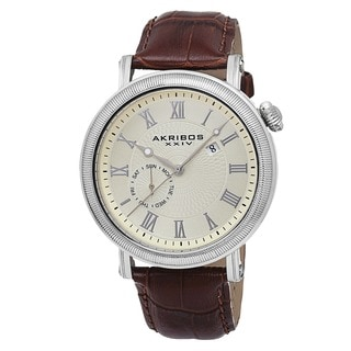 Akribos XXIV Men's Swiss Quartz Day/Date Genuine Leather Strap Watch