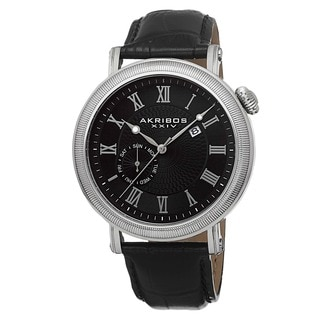 Akribos XXIV Men's Swiss Quartz Day/Date Leather Black Strap Watch