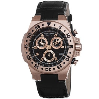 Akribos XXIV Women's Swiss Chronograph Sports Leather Strap Watch