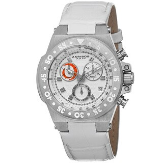 Akribos XXIV Women's Swiss Chronograph Sports Leather Silver-Tone Strap Watch